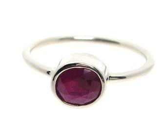 Ruby Ring 14K White Gold engagement ring wedding band