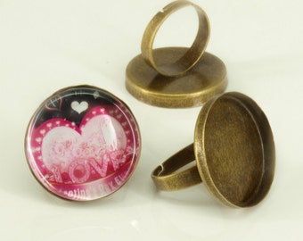 40 Shiny antique bronze blank Trays ring- 25mm round - Use with your favorite resin, glaze, or glass
