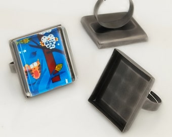 100 Shiny antique silver  blank Trays ring- 25mm square - Use with your favorite resin, glaze, or glass