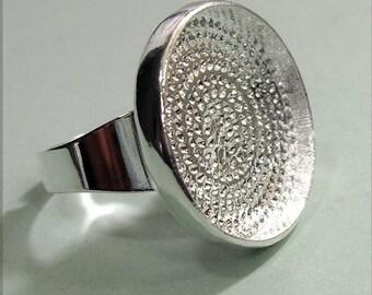 100 pcs silver tone circular Adjustable Ring Blank