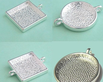 Mix 25mm round/square Pewter blank tray pendant