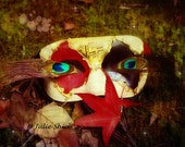 Woodland Fantasy Mask moss, Peacock eyes, Autumn leaves, Glitter, Green, Red, Purple Blue Photography, Harlequin Carnival Masquerade