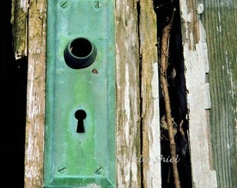 Abandoned Urban Decay- Through the Keyhole 8x10 Verdigris door Skeleton key art photography, Green and Brown Home and Office decor