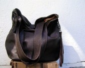 XL Agatha Fold Over in Chocolate Brown Leather with Removable Strap