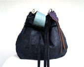 Agatha in Vintage Danish Tapestry with Black Leather Accents and Clip on Purse Strap