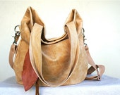 SUMMER///Agatha Fold Over in Faded Yellow Camel Leather with Clip On Adjustable Strap
