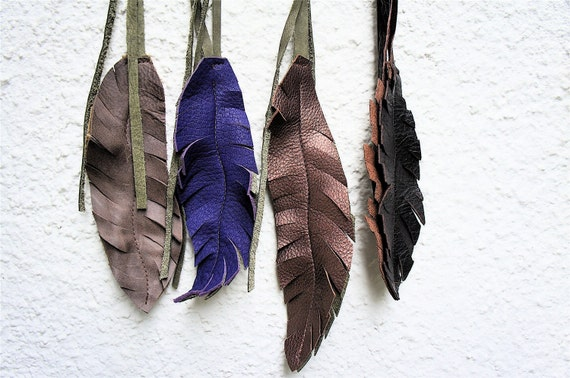 Leather Feathers-Reversable Tassels-Set of two