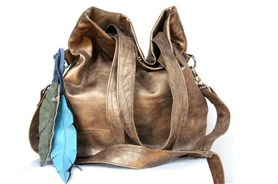 New Size///////Agatha Fold Over in Tarnished Gold Leather with Clip On Adjustable Strap