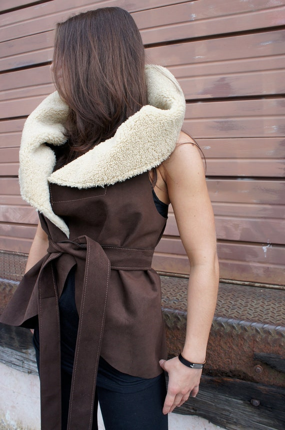 FALL//Mocha Brown Sensuede Cape Vest with Shearling Lamb Collar