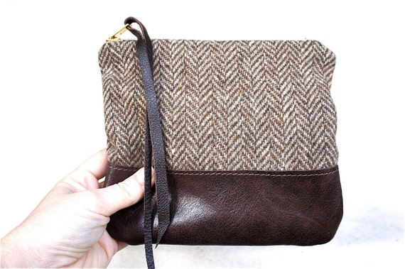 Herringbone and Brown Leather Pouch