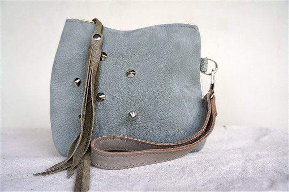 HOLIDAY///Leather Wristlet in Green and Metallic Leather with Studs