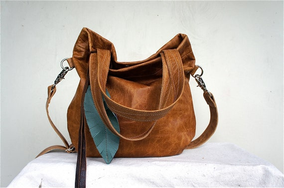 SAMPLE//Agatha Fold Over in Distressed Camel Brown Leather with Clip On Adjustable Strap