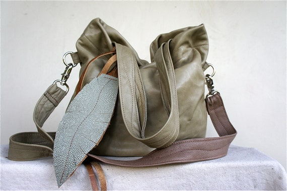 Agatha Fold Over in Washed Pale Green Leather with Two-Toned Clip On Adjustable Strap