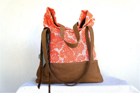 SUMMER///// Luella in Vintage Neon Paisley Linen with Brown Leather Accents