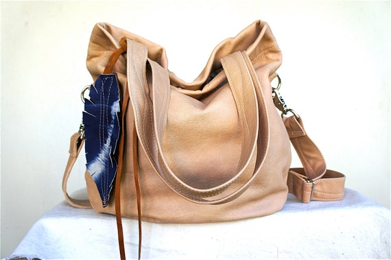 FOR Georgia///Agatha Fold Over in Sandy Brown Leather with Clip On Adjustable Strap