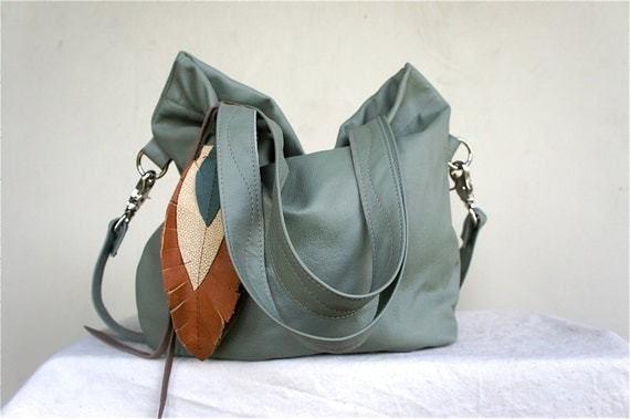 SAMPLE///Agatha Fold Over in Pale Green Leather with Clip On Adjustable Strap