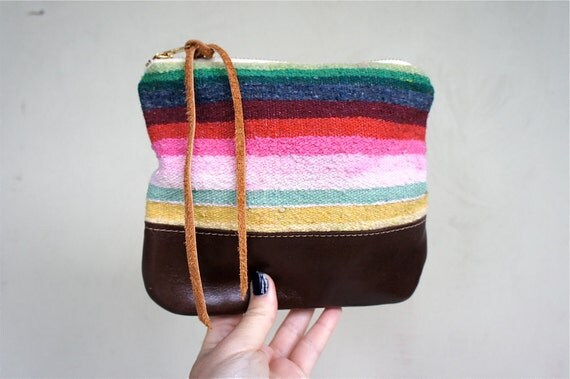 Mexican Blanket and Leather Pouch