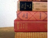 Vintage Book Lot - Tans and Reds- Great Decor