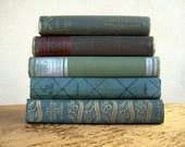 Book Decorations -  Blues Mixed With Greens -Interior Design Photo Props