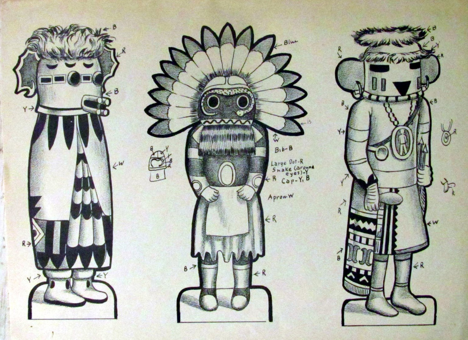Vintage 1952 Kachina Doll Cut Out Rare Nesting Coloring Pages