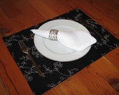 4 Embroidered Linen Placemats, Table Linens, Black and White