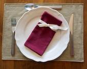 Organic Napkins, Table Linens, Hemp/Cotton,  Wine Red, 4