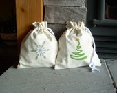 Large Christmas Gift Bag, Reusable, Hemp, Cotton, Linen, Organic