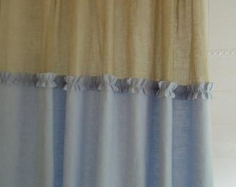 Ready-Made Pure Linen Ruffle Shower Curtain, Bathroom, Blue