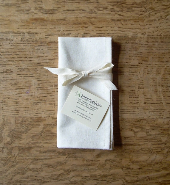 Organic Napkins, Table Linens, Hemp Cotton, Natural, 4