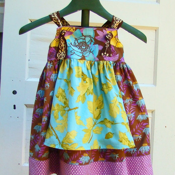 RESERVED For ABRIA Final Payment Autumn Leaves Apron Knot Dress Outfit
