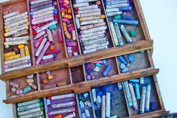 Artist Pastels Destash  Rembrandt Soft Pastels Wooden Drawers
