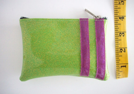 Coin Purse sparkle vinyl metal flake lime with magenta stripes