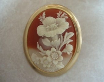 Ivory Floral Cameo Brooch