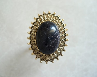 Adjustable Ring with Blue Goldstone Cabochon