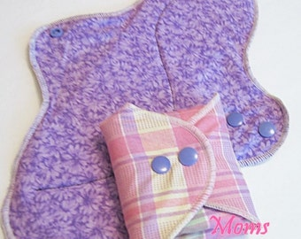 Set of 2 Misc Mama Cloth Pads With Wings  12 inches Great for Postpartum Moms  HEAVY THICKNESS   Free Shipping