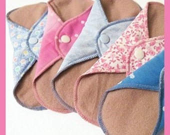 Cloth Pads / Mama Pads SET OF 5 .. 8 Inch  Pantyliner Thickness FREE Shipping