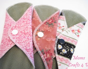 Mama Cloth / Cloth Menstrual Pads SET OF 3 .. 8 Inch  Pantyliner Thickness FREE Shipping