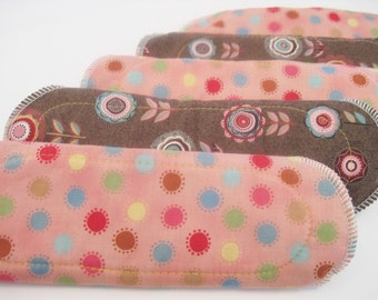 Cloth Mama Pads With Wings SET OF 5 ...Various Prints Starter Set ... Light Flow Panty Liners