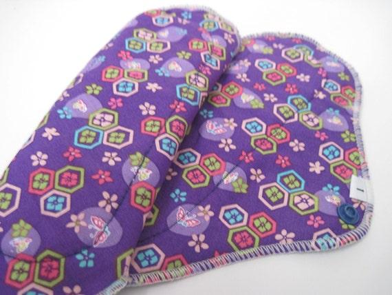 Cloth Mama Pad  .. Prismatic Purple Printed Pantyliner 8 inch