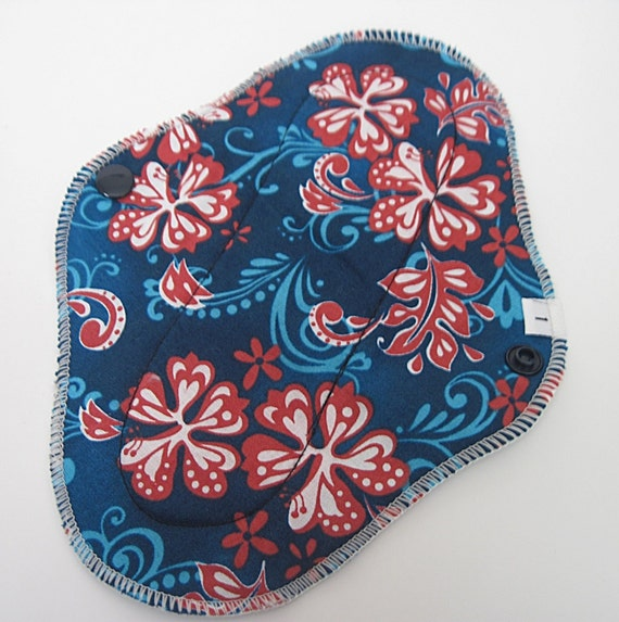Cloth Mama Pad  .. Hawaiian Floral Printed Pantyliner 8 inch