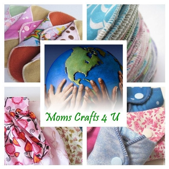 Cloth Pads SET OF 7 Variety of Prints Regular Flow.. 8 Inch