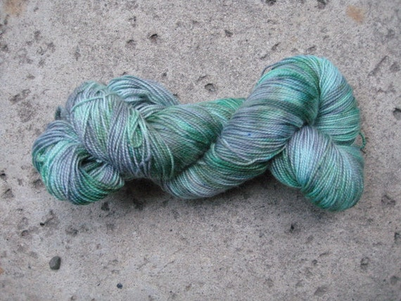Sock Yarn - Superwash BFL and Nylon - Mint Choco Chip