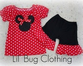 Custom Boutique Clothing Red Minnie Mouse Peasant Short Set