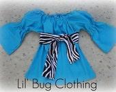 Custom Boutique Clothing Aqua Long Sleeved Peasant Top Zebra 12 18 24 2t 3t 4t 5t 6 7 girl