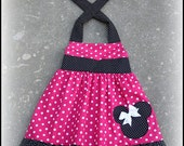 Custom Boutique Clothing Hot Pink White Polka Dot Swing Halter Dress