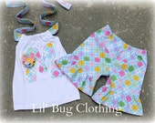 2T ONLY CLEARANCE Sale Custom Boutique Clothing Summer Spring Pastel Diamond Argyle Short and Halter Top
