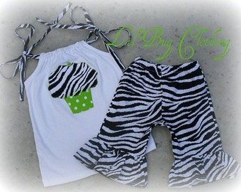 Custom Boutique Lime Cupcake And Dots Zebra  Short and Halter 12 18 24 2 3 4 5 6 7