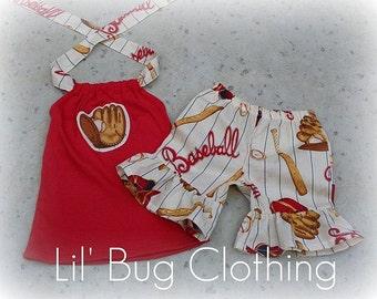 Custom Girl Clothing Baseball Short and Halter Top