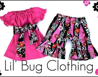 Custom Boutique Clothing pink peasant top zebra floral shorts 12 18 24 2t 3t 4t 5t 6 7 8