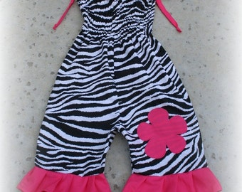 Custom Boutique Clothing Smocked Zebra Bubble 1 Piece Jumper